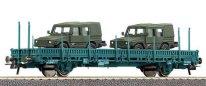 Товарен вагон с два военни джипа - ЖП модел - релса