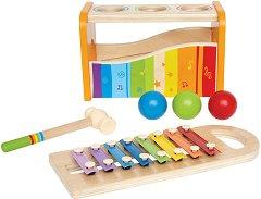 Ксилофон и чукче с топчета - Комплект музикални инструменти от дърво - играчка