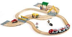Детски влак с релси, автобус и автомобил - играчка