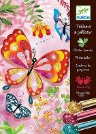 Оцветявай с брокат - Пеперуди - Творчески комплект за рисуване - хартиен модел