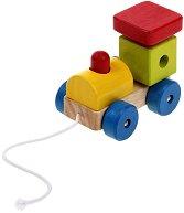 Локомотив - Дървена играчка за дърпане - играчка