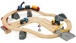 Детски влак с релси, камиони и строителни материали - Дървена играчка с аксесоари - играчка
