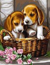 Нарисувай сам шедьовър - Кученца в кошница - Творчески комплект - продукт