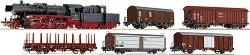 Влак с парен локомотив BR 50 и 5 товарни вагона - ЖП модели -