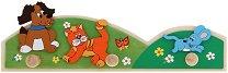 Детска дървена закачалка - Животни - играчка