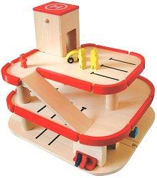 Дървен гараж с аксесоари - играчка