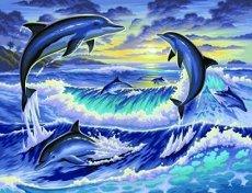 Нарисувай сам - Делфини - Творчески комплект за рисуване с акрилни бои - детски аксесоар