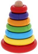 Пирамида - невеляшка - Дървена играчка с разноцветни елементи - количка