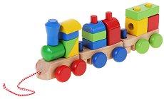 Влакче с два вагона - Дървен конструктор на колелца - играчка