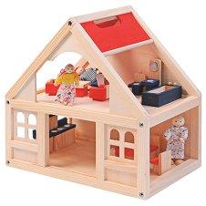 Дървена къща за кукли с аксесоари -