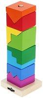 Сглоби кула от блокчета - Дървена играчка за нанизване - творчески комплект