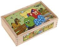Веселото влакче - Дървени кубчета с животни - играчка