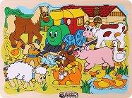 Веселото влакче във фермата - Детски дървен пъзел - пъзел