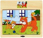 Животните в селския двор - Коте - Детски дървен пъзел - пъзел
