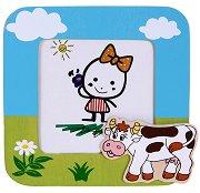 Дървена рамка за снимка - Крава -